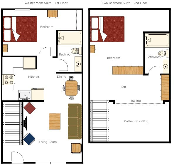 One and two bedroom condominium suites misty harbor for Hotel bedroom layout design
