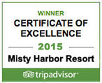 Misty Harbor Resort Trip Advisor Excellence Award